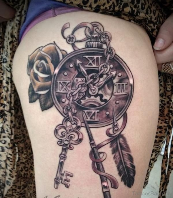 Beautiful Flowers And Nice Steampunk Clock Tattoo On Thigh