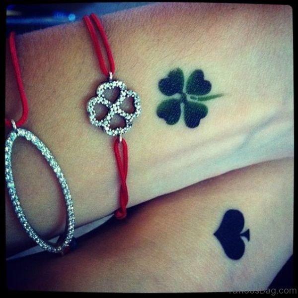 Beautiful Four Leaf Tattoo On Wrist