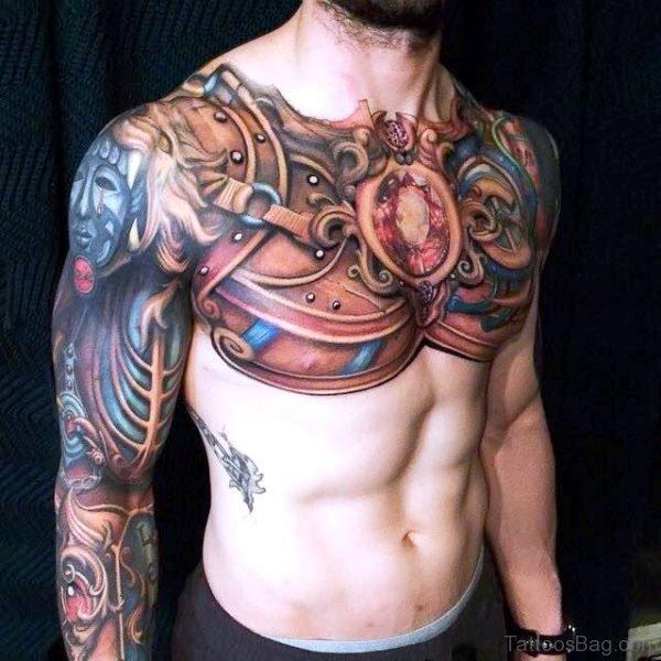 Beautiful Full Chest Armour Tattoo