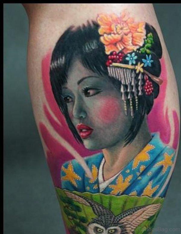 Beautiful Geisha Tattoo Design