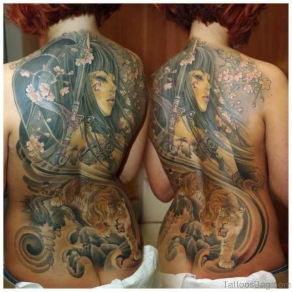 Beautiful Geisha Tattoo On Back