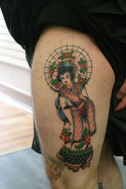 Beautiful Geisha Tattoo On Left Thigh
