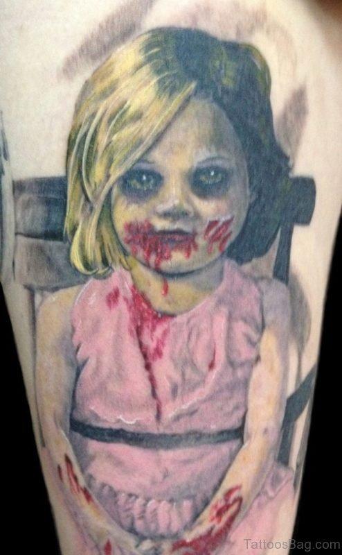 Beautiful Girl Zombie Tattoo