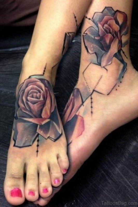 Beautiful Graphic Roses Tattoo