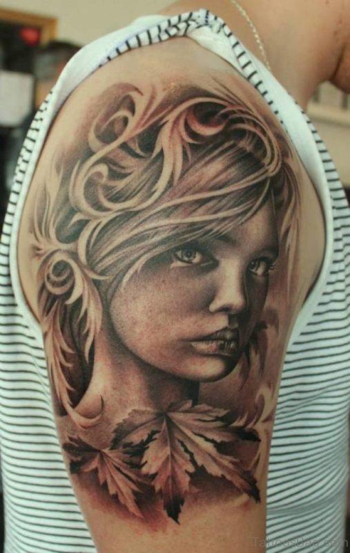 Beautiful Grey Ink Girl Portrait Tattoo  Girl Portrait Tattoo ST1057