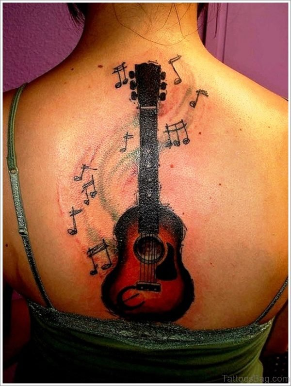 Beautiful Guitar Tattoo On Back