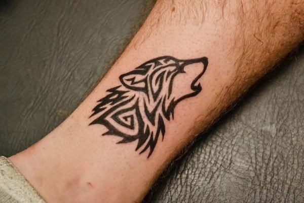 Beautiful Howling Tribal Wolf Head Tattoo