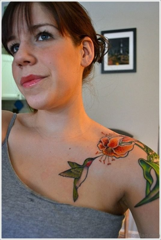 Beautiful Hummingbird Tattoo On Chest