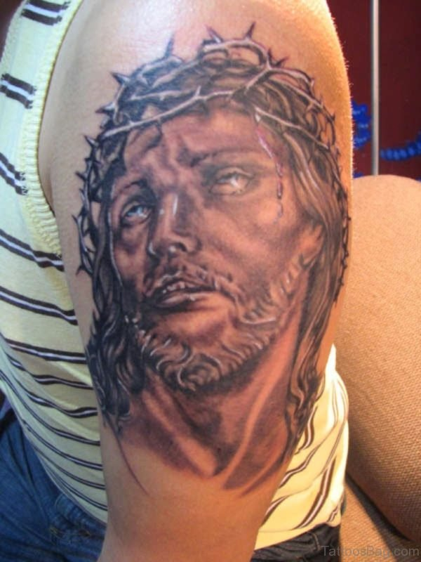 Beautiful Jesus Tattoo On Shoulder