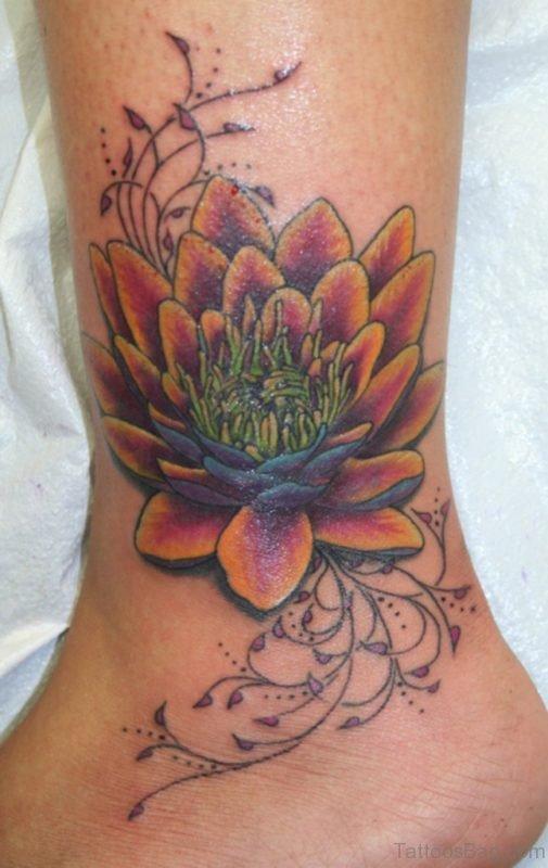 Beautiful Lotus Tattoo On Ankle