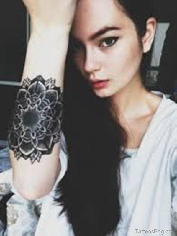 Beautiful Mandala Tattoo On Girl Arm