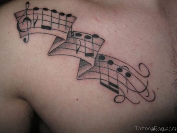 Beautiful Music Tattoo On Chest