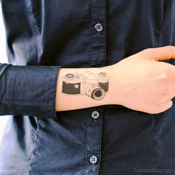 Beautiful Old Camera Wrist Tattoo