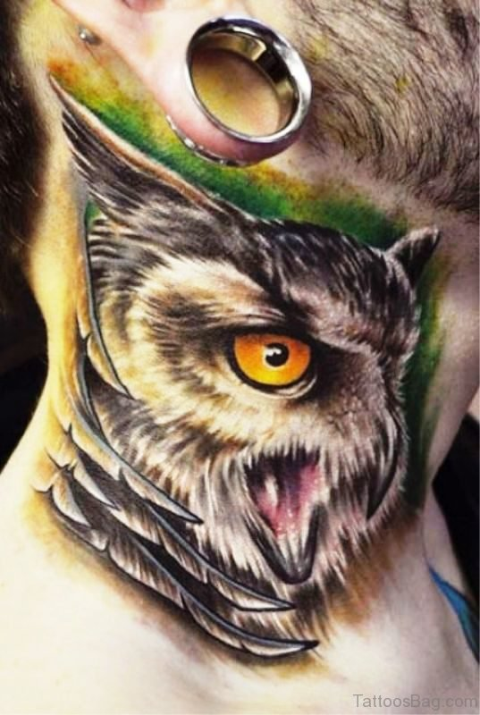 Beautiful Owl Tattoo On Neck