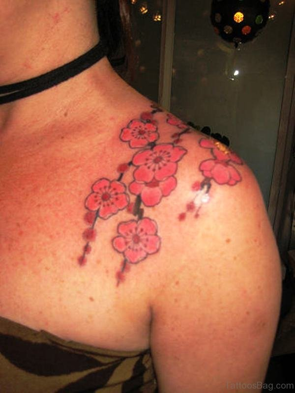 Beautiful Pink Flowers Tattoo Design On Shoulder