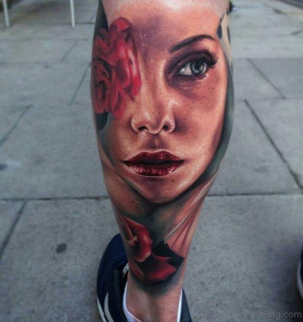 Beautiful Portrait Tattoo On Leg