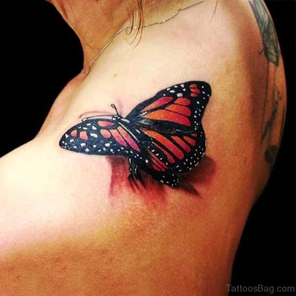 Beautiful Red Butterfly Tattoo