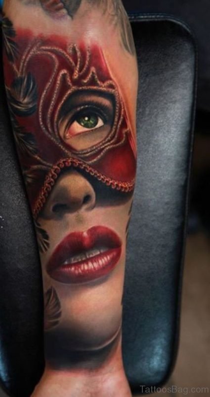 Beautiful Red Mask Girl Portrait Tattoo On Arm