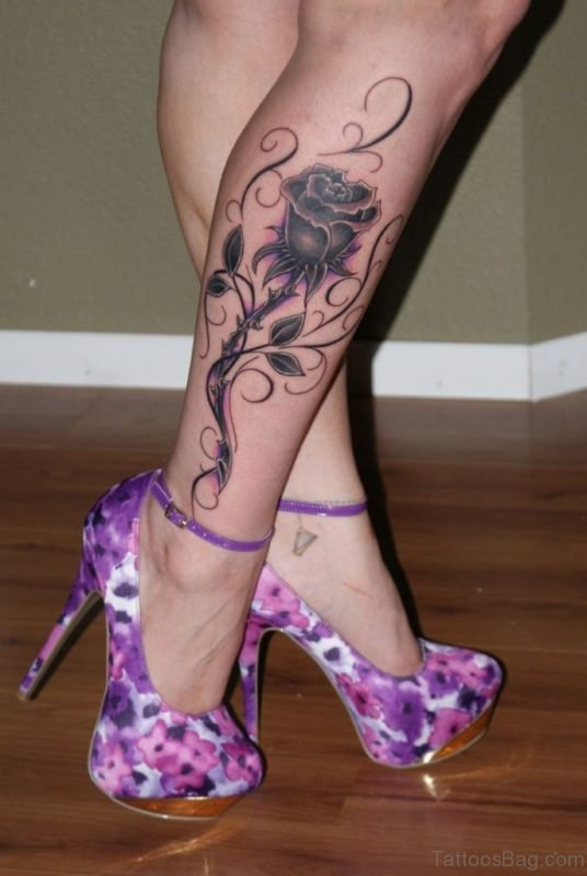 Beautiful Rose Tattoo On Leg