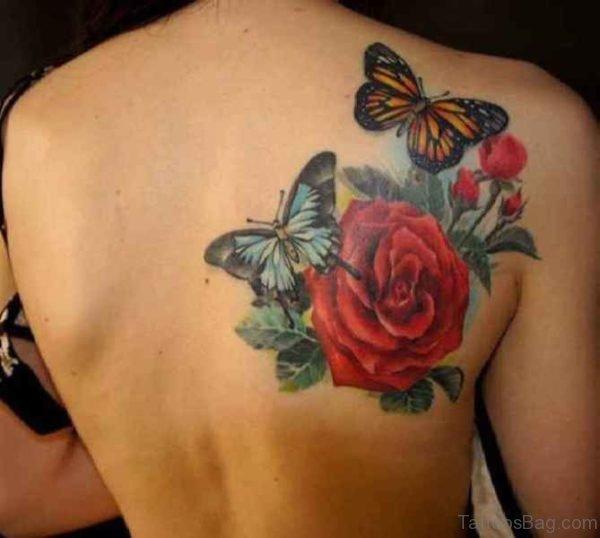 Beautiful Shoulder Blade Rose Tattoo Design