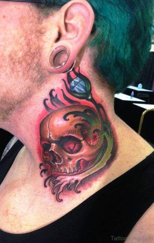 Beautiful Skull Neck Tattoo