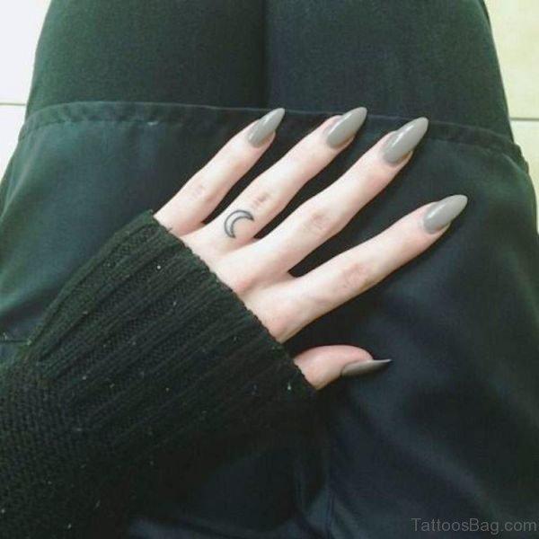 Beautiful Small Moon Tattoo On Finger