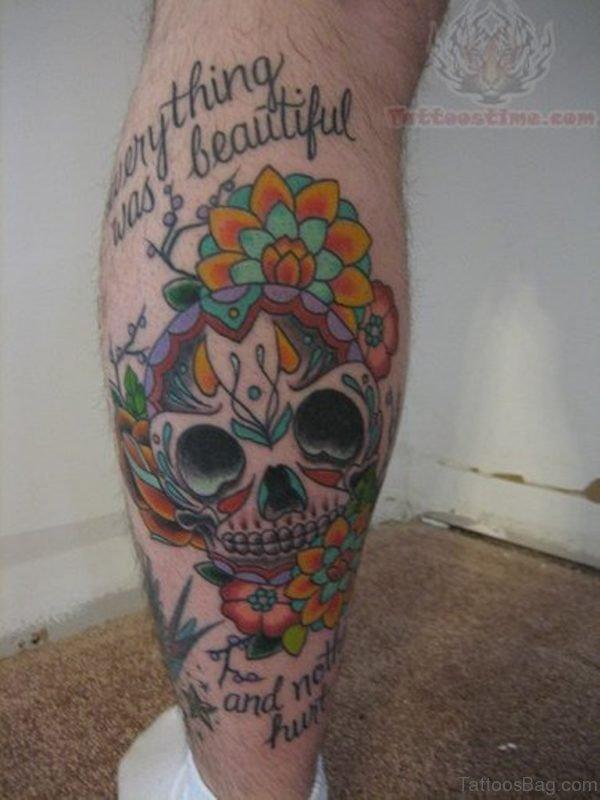 Beautiful Sugar Skull Tattoo On Leg