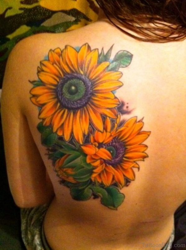Beautiful Sunflower Tattoo Design on Shoulder