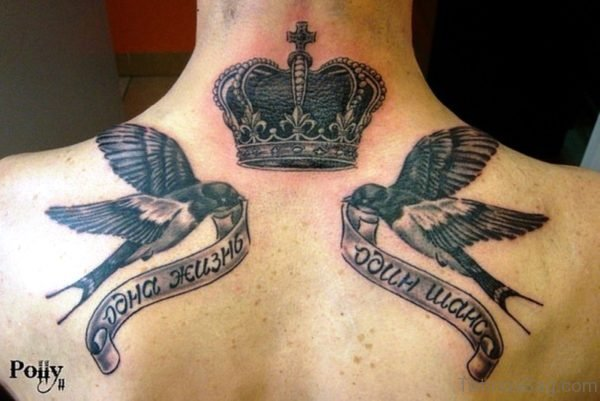 Beautiful Swallow And Crown Neck Tattoo
