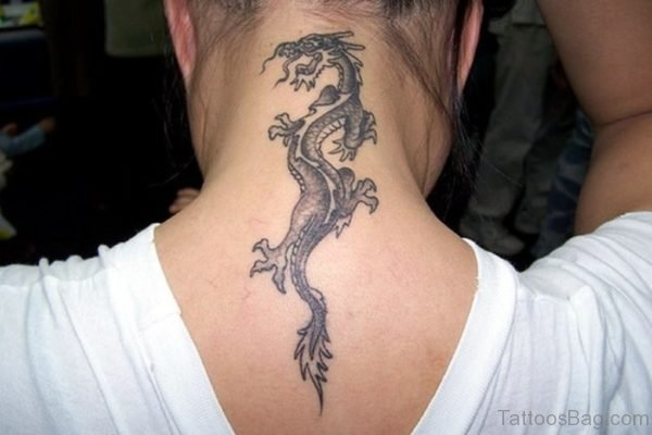 Beautiful Tribal Dragon Tattoo On Neck