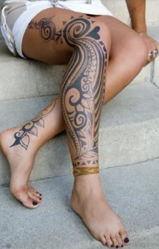 Beautiful Tribal Tattoo On Leg