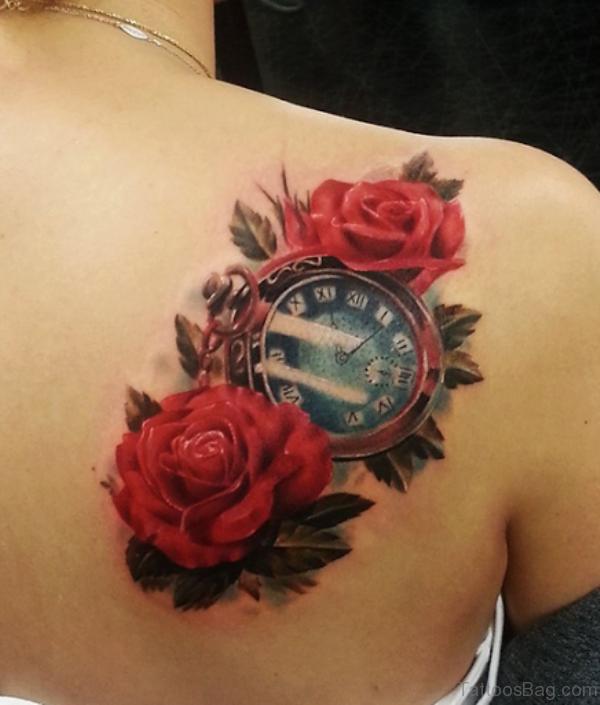 Beautiful Watch Shoulder Blade Tattoo