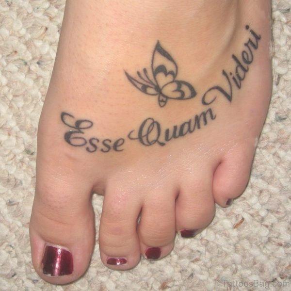 Beautiful Words Tattoo On Foot