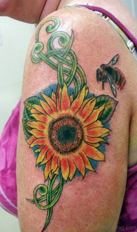 Bee And Sunflower Tattoo