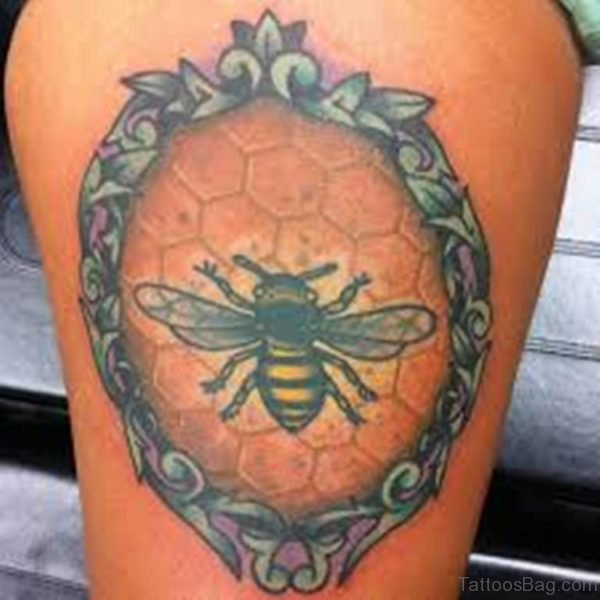 Bee Frame Tattoo On Thigh