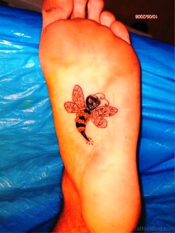 Bee Tattoo Under Foot