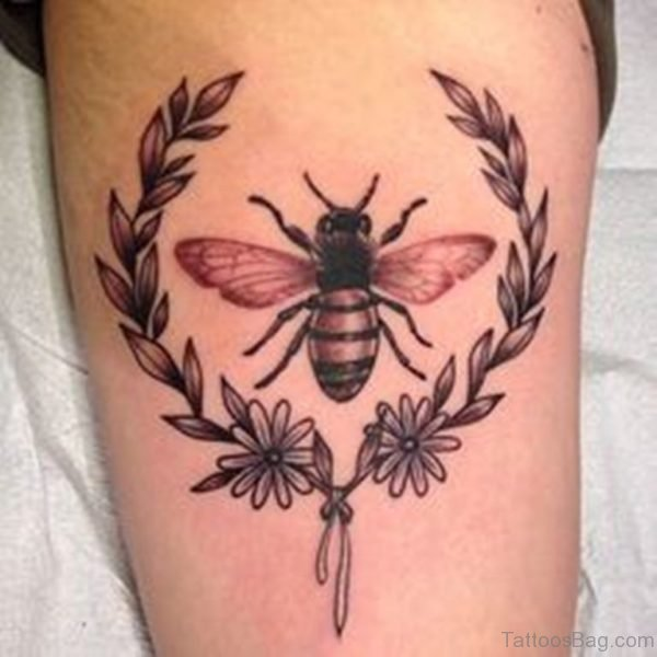 Bee Tattoo Design On Thigh