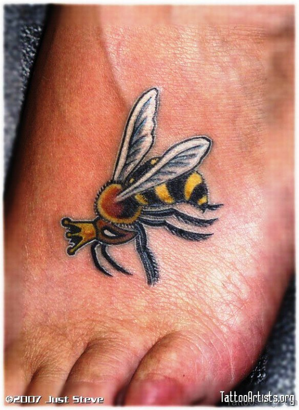 Bee With Crown Tattoo Design