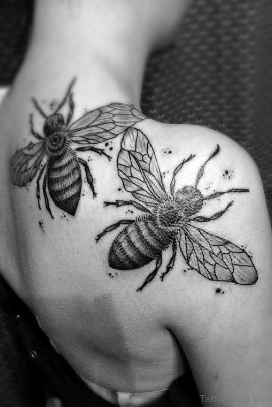 Bees Blade Shoulder Tattoo