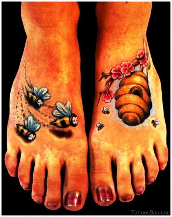 Bees Tattoos On Feet