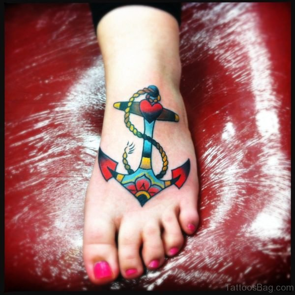 Best Colorful Anchor Tattoo On Foot