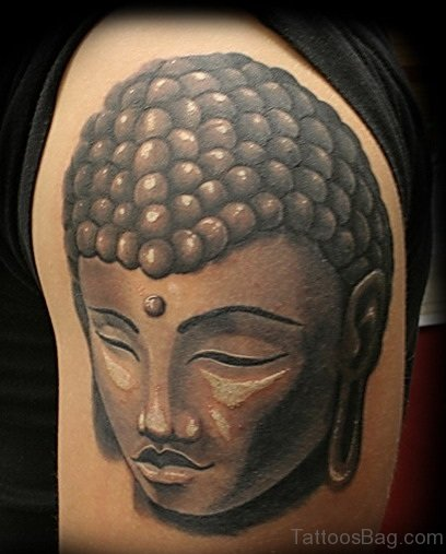 Best Mahatma Buddha Face Tattoo On Shoulder