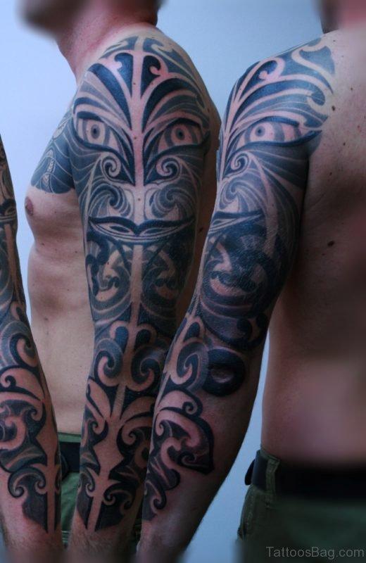 Best Maori Tribal Tattoo On Full Sleeve