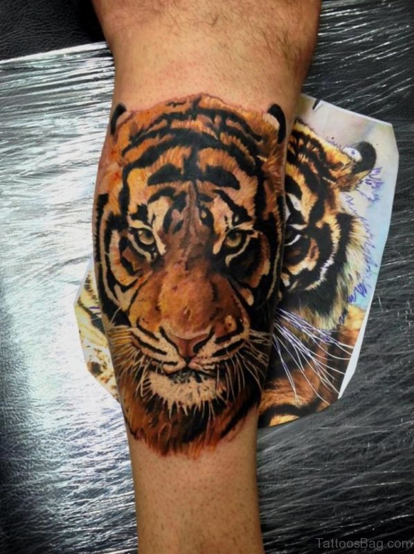 Best Tiger Face Tattoo On Leg