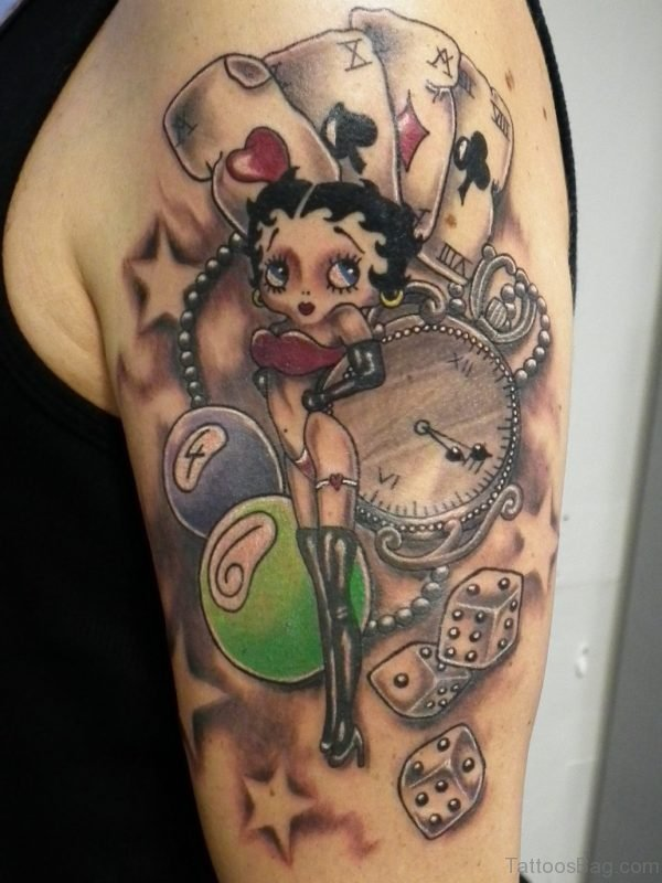 Betty Boop Tattoo On Shoulder