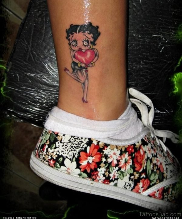 Betty Boop Tiny Heart Tattoo On Leg