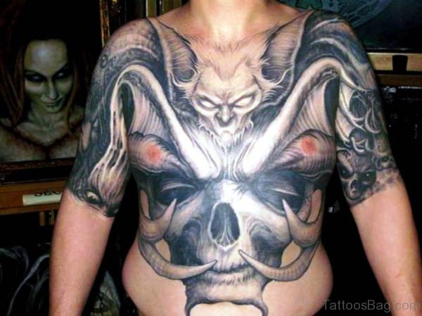 Big Bat Tattoo On Chest To Stomach