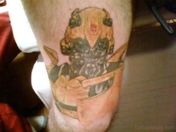 Big Bee Tattoo On Thigh