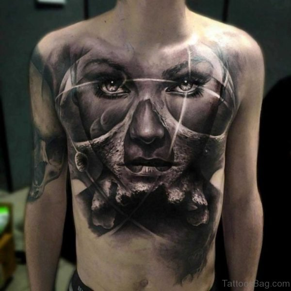 Big Black and Grey Portrait Tattoo