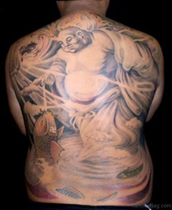 Big Buddha With Koi Fish Tattoo On Back